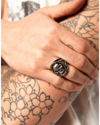 ASOS - Metallic Asos Large Skull Ring for Men - Lyst