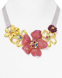 T Tahari - Metallic Arrangements Floral Necklace 12 - Lyst