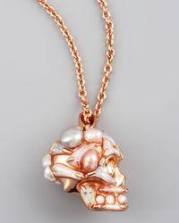 Alexander McQueen | Metallic Pearl Skull Pendant Necklace | Lyst