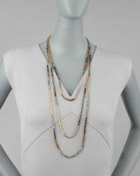 Nakamol - Metallic Triplestrand Beaded Necklace - Lyst