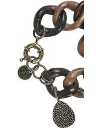 Saint Laurent - Brown African Mask Wooden Charm Bracelet - Lyst