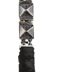 Emanuele Bicocchi - Metallic Nappa Silver Spiked Bracelet for Men - Lyst