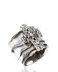 Emanuele Bicocchi | Metallic Sterling Silver Perforated Cross Ring for Men | Lyst