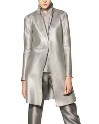 Giorgio Armani | Metallic Heavy Techno Silk Organza Coat | Lyst