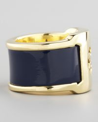 Tory Burch - Patent Leather Band Ring Blue - Lyst