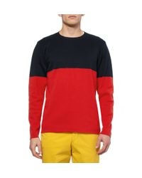 Hentsch Man | Red Two-tone Knitted Cotton Sweater for Men | Lyst