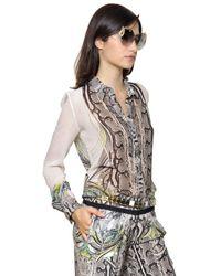 Roberto Cavalli   Multicolor Printed Silk Georgette Shirt   Lyst