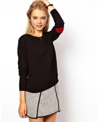 ASOS Collection - Black Asos Jumper with Star Elbow Patches - Lyst