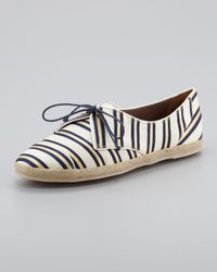 Tabitha Simmons | Black Espadrille Lace Up in Linen Silk Cricket Stripe | Lyst