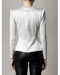 Alexander McQueen | White Pique Jersey Peplum Top | Lyst