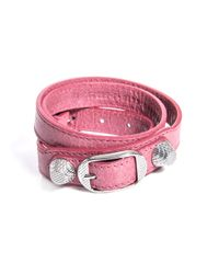 Balenciaga | Pink Studded Leather Bracelet | Lyst