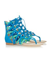 Emilio Pucci - Blue Two-tone Suede Gladiator Sandals - Lyst