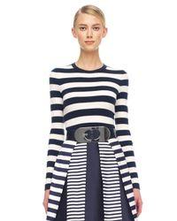 Michael Kors   Blue Mixstripe Shantung Skirt   Lyst