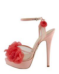 Charlotte Olympia Fleur Anklewrap Platform Sandal Pink
