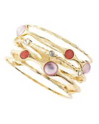 R.j. Graziano - Pink Bezelset Bangles - Lyst