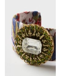 Anthropologie - Green Fabric Collage Jeweled Cuff - Lyst