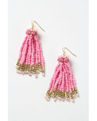 Anthropologie | Pink Bead Tassel Earrings | Lyst