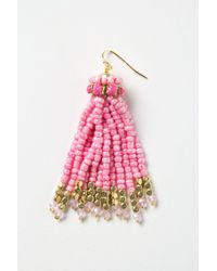 Anthropologie - Pink Bead Tassel Earrings - Lyst