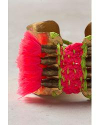 Anthropologie - Metallic Tufted Neon Cuff - Lyst