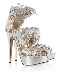 Charlotte Olympia | Silver Belinda Cutout Leather Sandals | Lyst