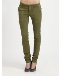 Current/Elliott - Green The Combat Skinny Mid-Rise Stretch-Denim Jeans - Lyst