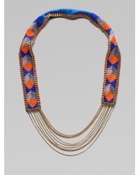 Fiona Paxton - Blue Beaded Leather and Chain Necklace - Lyst