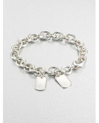 Gucci | Metallic Double Tag Sterling Silver Bracelet | Lyst