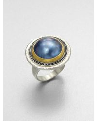Gurhan - Blue Gauntlet Grey Mabe Pearl, 24K Yellow Gold & Sterling Silver Ring - Lyst