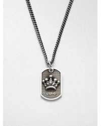 King Baby Studio - Metallic Sterling Silver Crown Dog Tag Necklace - Lyst