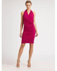 Nicole Miller | Pink Silk Halter Dress | Lyst