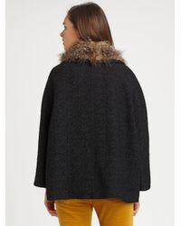 Smythe - Black Faux Furcollar Swing Coat - Lyst