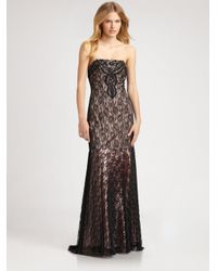 Sue Wong | Gray Beaded Lace Gown | Lyst