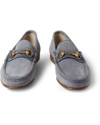 Gucci | Blue Horsebit Suede Loafers for Men | Lyst