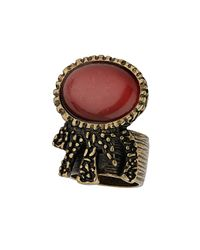 TOPSHOP - Red Catseye Off Band Ring - Lyst