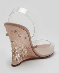 Valentino | Transparent Naked Rockstud Wedge Sandal | Lyst