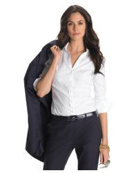 Brooks Brothers | White Petite Non-iron Fitted Blouse | Lyst