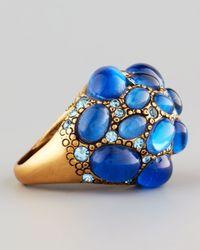 Oscar de la Renta - Pave Cabochon Crystal Ring Blue - Lyst
