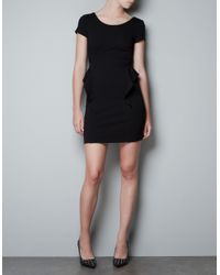 Zara | Black Short Sleeve Peplum Dress | Lyst