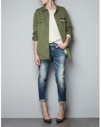 Zara | Green Military Shirt with Embellished Pocket | Lyst