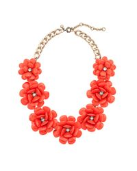 J.Crew - Red Beaded Rose Necklace - Lyst