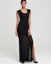 e01938ca5854 Lyst - Nicole Miller Lace Dress Square Neck Side Slit in Black