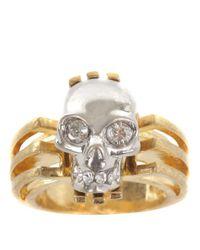 Alexander McQueen | Metallic Gold Art Deco Skull Ring | Lyst