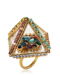 Erickson Beamon   Metallic 'stratosphere' Faux Pearl Crystal Floral Cluster Ring   Lyst