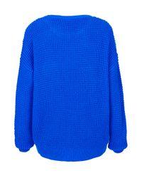 TOPSHOP Blue Knitted Textured Stitch Jumper