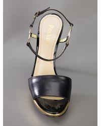 Pollini   Black Metallic Heeled Sandal   Lyst