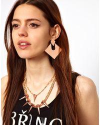 ASOS - Metallic Articulated Diamond Doorknocker Earrings - Lyst