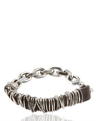 Emanuele Bicocchi - Metallic Woven Leather Silver Bracelet for Men - Lyst
