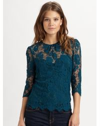 MILLY - Blue Chantilly Lace Caterina Top - Lyst