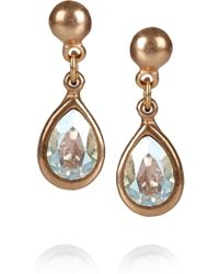 Philippe Audibert - Metallic Gold-Plated Swarovski Crystal Drop Earrings - Lyst
