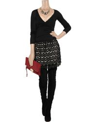RED Valentino - Black Wool Cardigan With Lace Paneling - Lyst